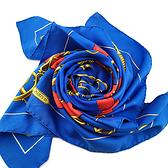 HERMES 藍色底黃紅印花絲質90公分披肩(九五成新)