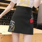 新款a字裙半身裙黑色高腰韓版刺繡時尚短裙春夏顯瘦包臀裙子 Korea時尚記