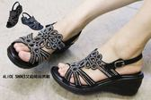 ALICE SHOES艾莉時尚美鞋 秋冬新款經典基本款水鑽楔型厚底涼鞋 @942@MIT台灣製造