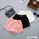 女童夏季牛仔短褲韓版洋氣時尚破洞中大童兒童百搭黑白色外穿熱褲 Cocoa