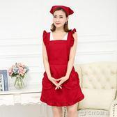 粉色女圍裙韓版時尚公主可愛荷葉邊美甲美容花店印字     ciyo黛雅