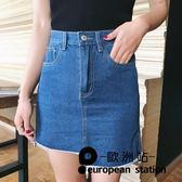 短裙 下擺不對稱牛仔a字裙高腰半身裙女「歐洲站」