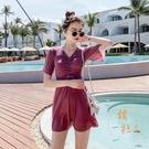 泳衣顯瘦遮肚韓國連身裙式保守泡溫泉大碼泳裝女【橘社小鎮】