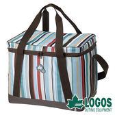 LOGOS 條紋軟式保冷袋M (25L) 81670710 冷藏 行動冰箱 露營 野餐 保鮮 保冰 母奶包 釣魚