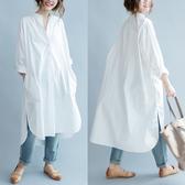 文藝女裝大尺碼春裝女胖mm2020新款上衣寬鬆韓版簡約純棉襯衫連衣裙
