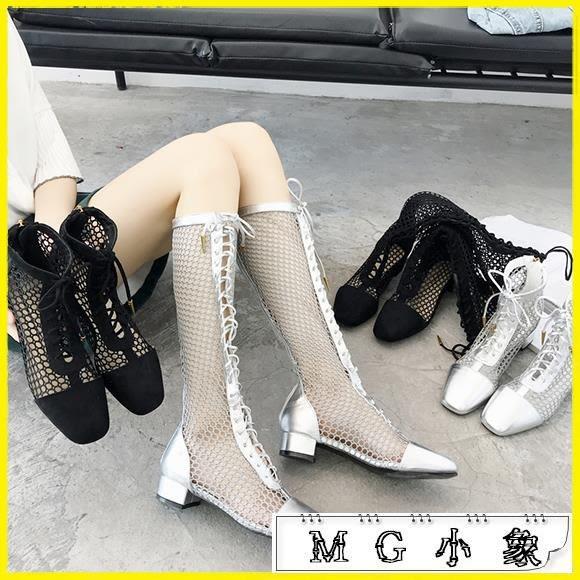膝上靴-涼靴鏤空粗跟馬丁靴高跟鞋長靴