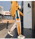 EASON SHOP(GW7583)實拍線條拼接字母刺繡抽繩綁帶鬆緊腰束腳運動褲休閒褲高腰長褲直筒褲九分哈倫褲
