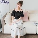 洋裝 RCha。露肩一字領點點假兩件短袖長洋裝-Ruby s 露比午茶
