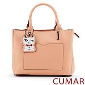 【CUMAR女包】俏皮小狗吊飾手提包-粉色