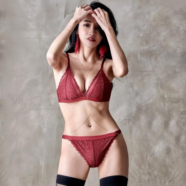 XS-M 成套內衣【逐愛赤紅】歐系舒適成套無襯內衣A-D罩杯 (棗紅色) MyDoll