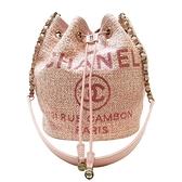 CHANEL 香奈兒 粉色草編肩背斜背水桶包Deauville Drawstring Bucket Bag【BRAND OFF】