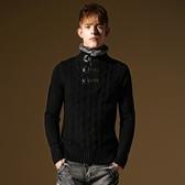 長袖針織衫-高檔素色皮革扣男針織毛衣73ik1[時尚巴黎]