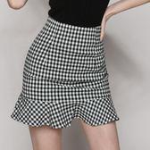 包臀裙 荷葉邊半身裙夏季新款黑白格子高腰短裙包臀一步魚尾裙