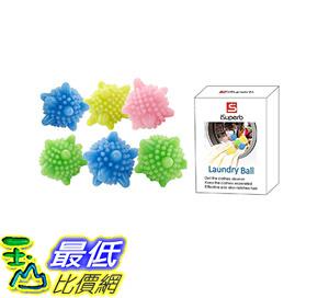 [107美國直購] 洗衣機用 不打結洗衣球 iSuperb Solid Colorful Laundry Ball Washing Ball Set of 6 2.4 inch