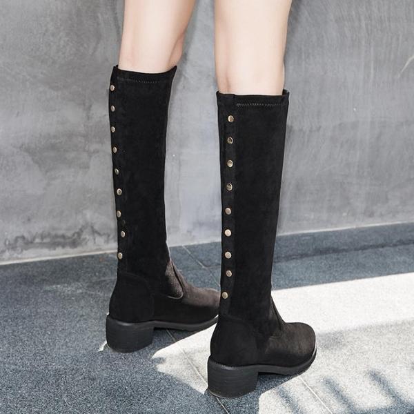 過膝靴女2020春春冬季新款長筒靴中筒高筒粗跟平底瘦瘦靴子