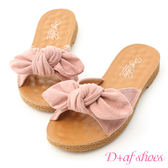 拖鞋 D+AF 可愛無敵.立體蝴蝶結平底涼拖鞋*粉