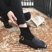 襪子靴女短靴季百搭平底瘦瘦靴低跟英倫風小皮鞋潮 完美情人館