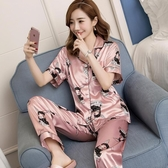 睡衣女春夏短袖薄款性感韓版開衫女士夏季冰絲家居服絲綢套裝大碼「艾瑞斯居家生活」