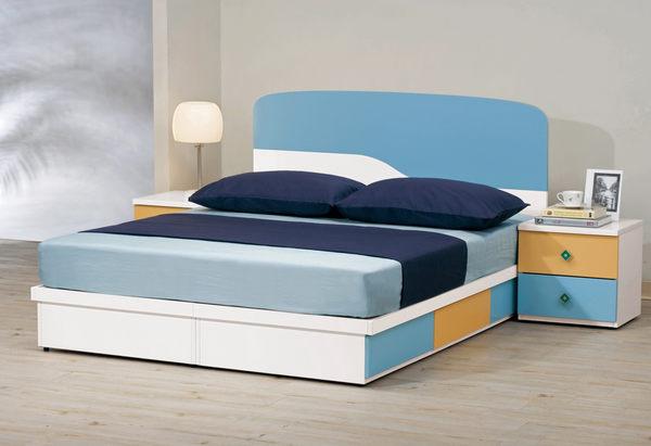 【森可家居】艾文斯5尺床頭片 7CM174-3 雙人 藍 白色 兒童
