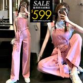 克妹Ke-Mei【ZT60807】BI入時髦芭比粉逆齡軍風牛仔吊帶褲裝