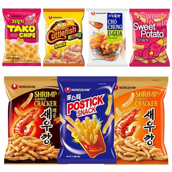 韓國 NONGSHIM 農心餅乾 蝦味條 魷魚造型 章魚風味 甜米米 洋蔥點心棒 地瓜芝麻脆條【庫奇小舖】