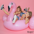 Qmigirl 夏日充氣夢幻紅鶴造型 火烈鳥游泳圈 游泳圈 水上座椅 充氣玩具 漂浮床 泳圈【QJ2198】