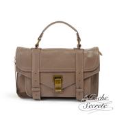 La Poche Secrete側背包 簡約羊皮仿舊金屬釦手提斜側背包-氣質藕 QH-1809