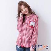 betty's貝蒂思 俏皮口袋格紋連帽開襟上衣(紅色)