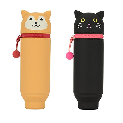 Lihit Lab 動物造型筆袋 2 入- 黑貓 + 柴犬