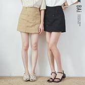 褲裙 純色雙排釦微彈性斜紋布高腰短褲M-L號-BAi白媽媽【301577】