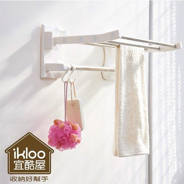 ikloo~不鏽鋼吸盤衛浴置物架 毛巾架 衣物掛架 浴室收納架 置物架 掛勾【YV5020】BO雜貨