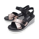 【南紡購物中心】WALKING ZONE(女) 交叉帶楔型厚底彈力涼鞋 女鞋 -鐵灰(另有黑)