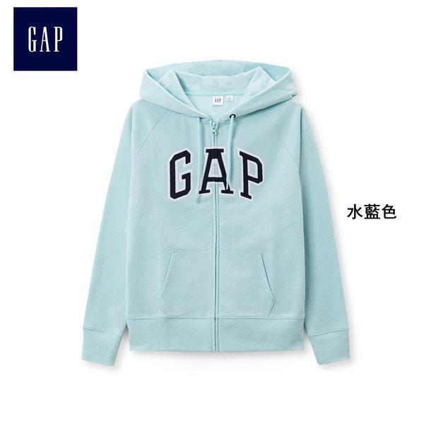Gap女裝 Logo舒適棉質長袖連帽休閒上衣 268816-水藍色