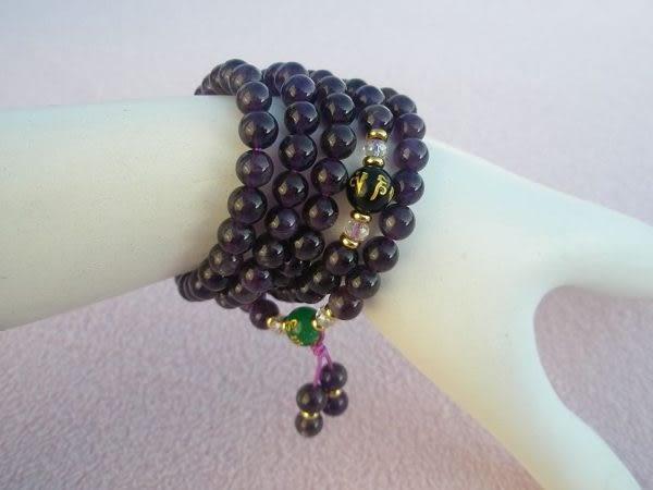 【歡喜心珠寶】【紫水晶6.5mm108顆念佛珠】天然巴西紫水晶「附保証書」念佛倍加功德無量