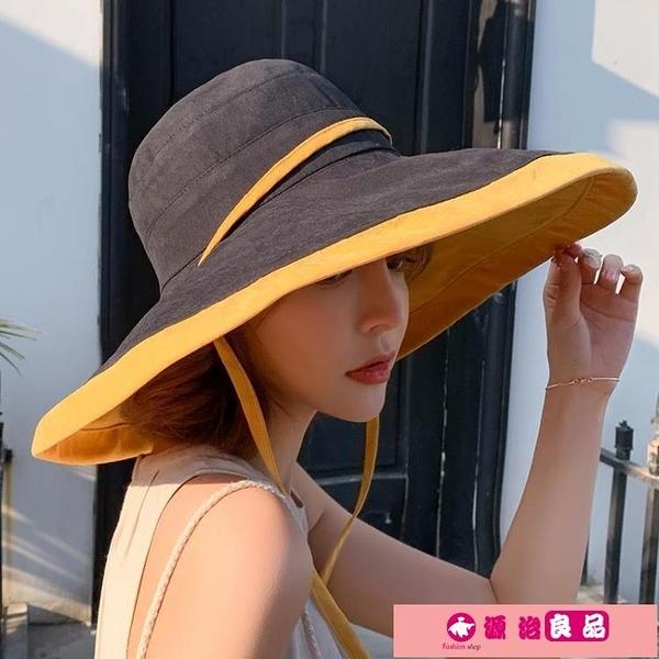 漁夫帽 夏季超大帽檐遮陽帽漁夫帽子女大沿帽防曬太陽帽遮臉防紫外線全臉 源治良品