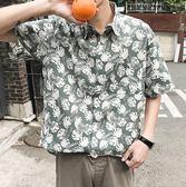 【全館八九折】2019夏季新品正韓青少年小清新花襯衫寬鬆短袖襯衫男潮花襯衣上衣