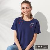 【JEEP】女裝 造型圖騰刺繡短袖TEE (藍色)