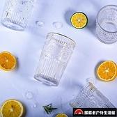 復古潮流大容量杯子創意金邊歐式浮雕玻璃杯個性家用水杯【探索者戶外生活館】