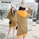 VK精品服飾 韓系刺繡條紋拼接休閒寬鬆開叉長袖洋裝