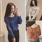 秋季新款韓版長袖寬鬆短款鏤空圓領顯瘦針織衫女打底毛衣套頭