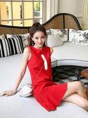 新款冷淡風小個子魚尾裙子女夏季顯瘦無袖紅色連衣裙高腰禮服     麥吉良品igo