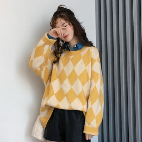 EASON SHOP(GU9646)韓版撞色長袖上衣圓領菱形格紋毛衣毛料針織長版女上衣服落肩OVERSIZE寬鬆紫色