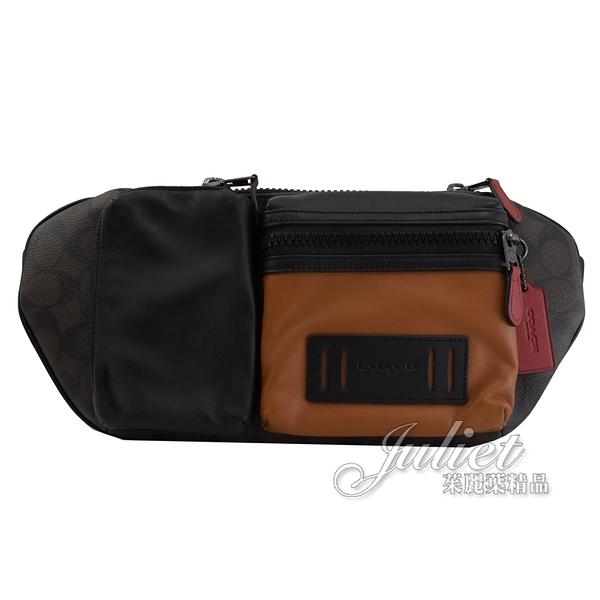 茱麗葉精品【全新現貨】COACH C2060 品牌LOGO多口袋肩斜三用腰包.深咖 大款