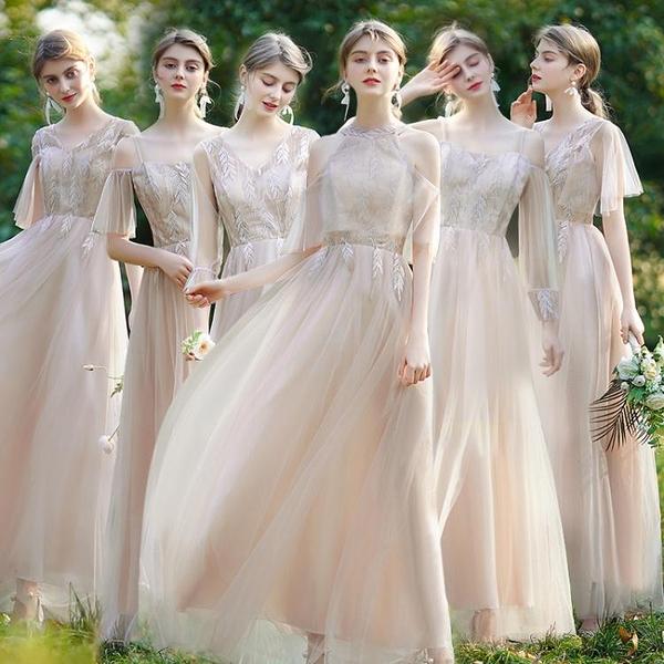 伴娘禮服女2021平時可穿姐妹團仙氣質顯瘦創意簡單特別長款秋冬裝 韓國時尚週 免運