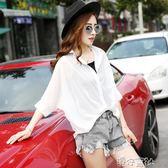 洋氣小衫女新款夏季短款蝙蝠衫短袖上衣超仙甜美遮肚子雪紡衫 港仔會社