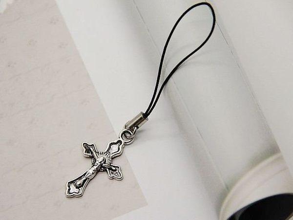 時尚女式銀色十字架情侶手機鏈