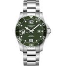 綠水鬼 LONGINES 浪琴 深海征服者浪鬼陶瓷潛水機械錶-綠x銀/43mm L37824066
