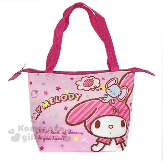 〔小禮堂〕美樂蒂 帆布便當袋《粉.草莓.站姿》野餐袋.手提袋.保溫保冷 4713549-18026