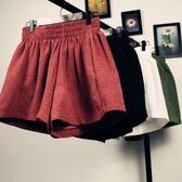 韓版棉麻百搭鬆緊腰寬鬆熱褲ins大碼黑色闊腿短褲女休閒褲裙褲夏 東京衣櫃
