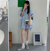 夏季新款正韓藍色短袖襯衫裙女設計感小眾外穿百搭寬鬆中長款上衣-年終穿搭new Year